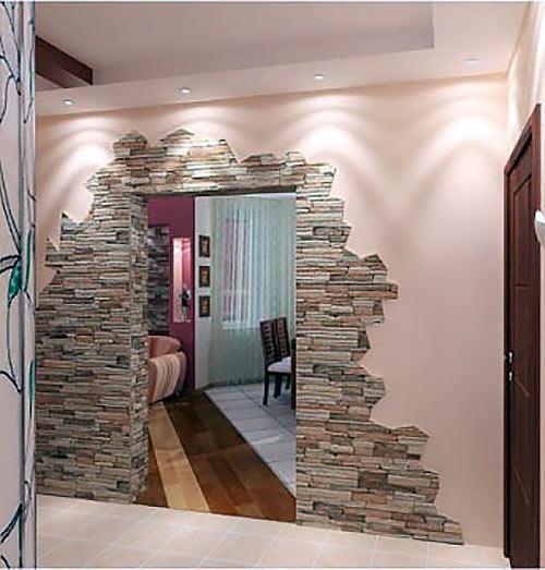 Дизайн коридора с искусственным камнем фото